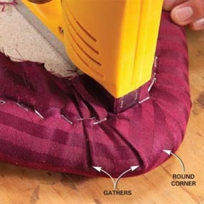 Fold Fabric Around Square Corners If Your Seat Has Toward The Rear Against Back Edge Of Where Crease Will